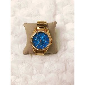 🆕 Fossil Gold and Blue Watch